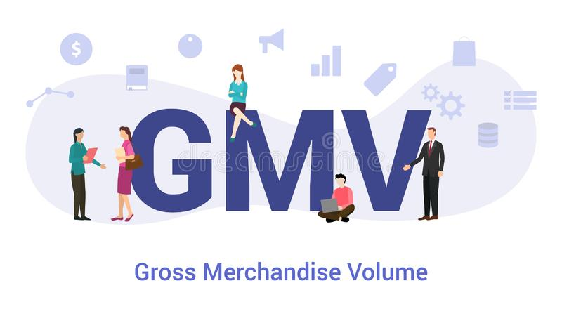 Gmv gross merchandise volume concept with big word or text and team people with modern flat style - vector. Illustration royalty free illustration