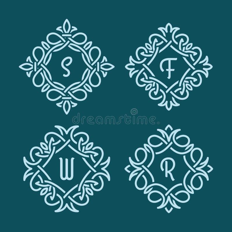 Gnäggandemonogram stock illustrationer