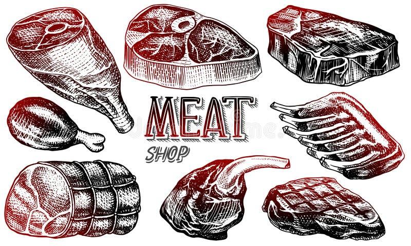 Gnälla kött, grisköttbiff, det fega benet, köttfärslimpan, bacon och stöd Grillfestmat i tappningstil Mallar för restaurang vektor illustrationer