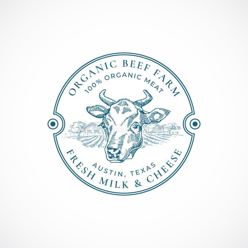 Gnälla och mjölka lantgårdemblemet eller Logo Template För den koframsidan och lantgården för hand skissar det utdragna landskape stock illustrationer