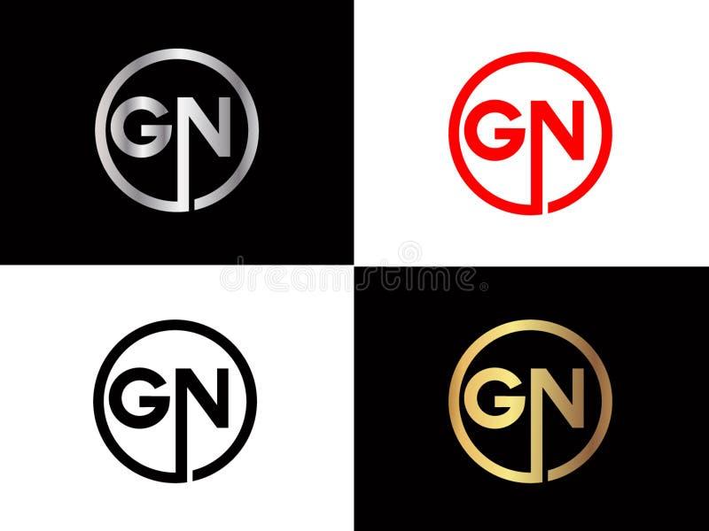 GN-Quadratform Buchstabe-Logo Entwurf in der silbernen Goldfarbe lizenzfreie abbildung