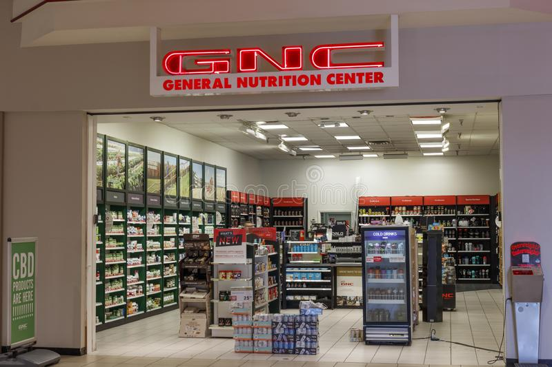 GNC health and nutrition retail strip mall location. Harbin Pharmaceutical Group Holding agreed to acquire a stake in GNC. Kokomo - Circa September 2019: GNC royalty free stock photography