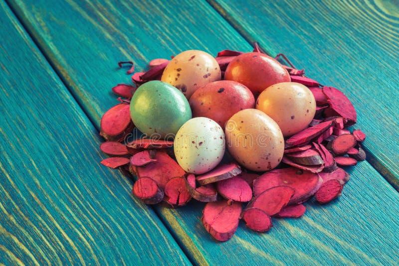 Gniazdeczko czekoladowi przepiórek jajka zdjęcia royalty free