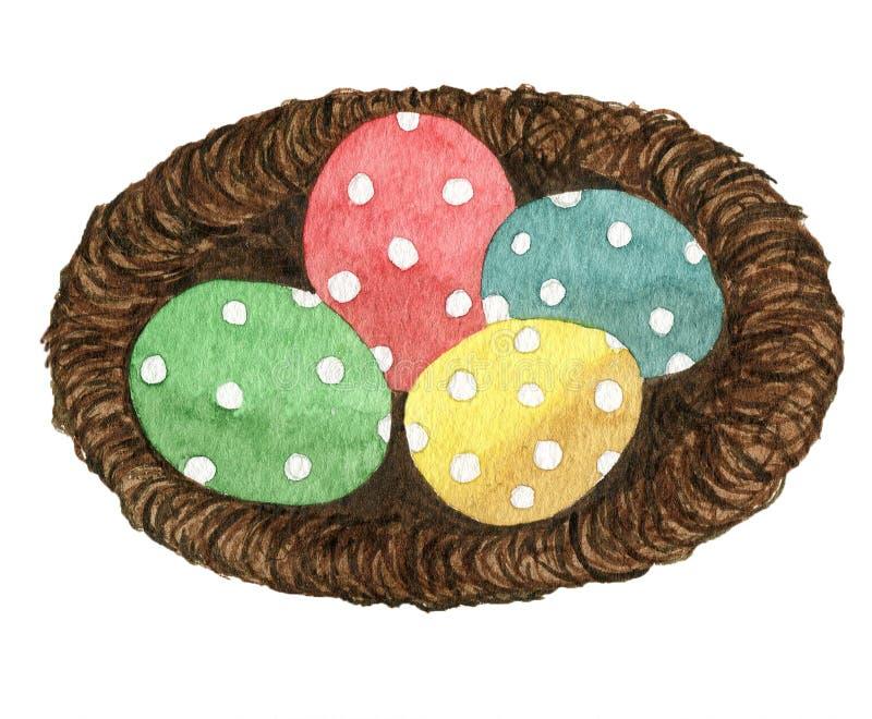 Gniazdeczko z malującymi Easter jajkami obraz royalty free