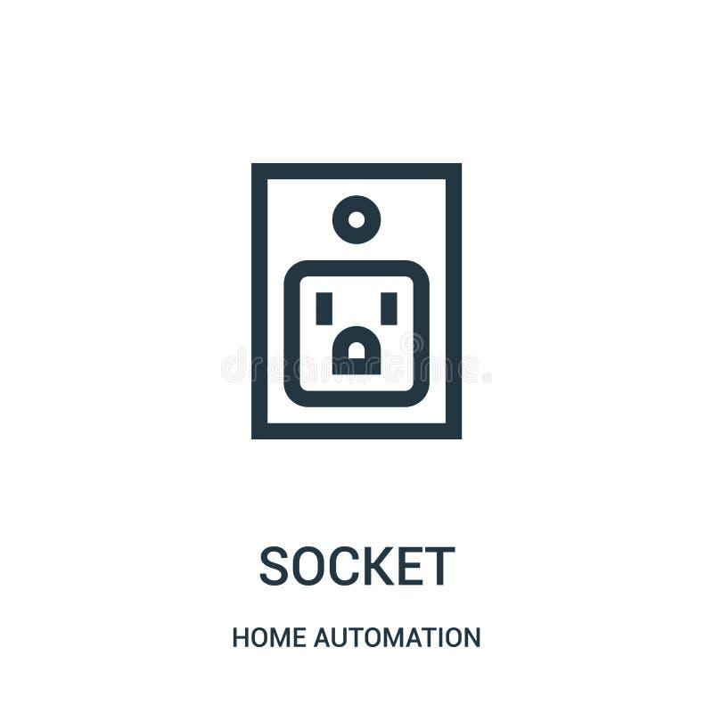 gniazdkowy ikona wektor od domowej automatyzacji kolekcji Cienka kreskowa gniazdkowa kontur ikony wektoru ilustracja Liniowy symb ilustracja wektor