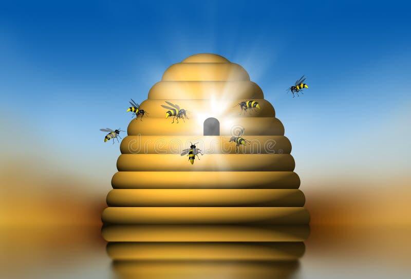 gniazdo pszczół ilustracji
