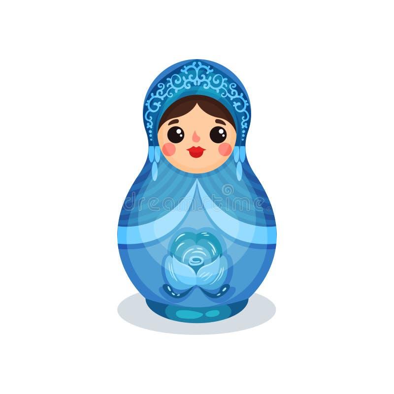 Gniazdować lalę, Rosyjski drewniany matryoshka z Gzhel ornamentu wektorową ilustracją na białym tle royalty ilustracja