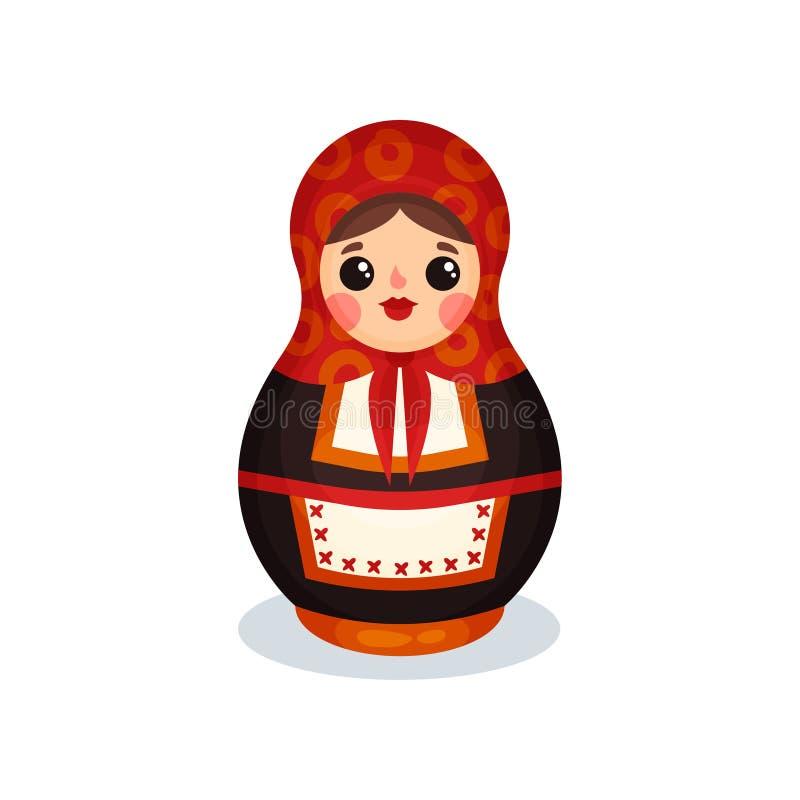 Gniazdować lalę, Rosyjskiego drewnianego matryoshka babushka wektorowa ilustracja na białym tle ilustracja wektor