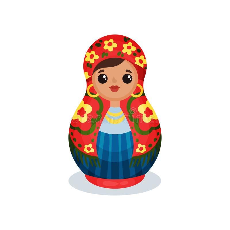 Gniazdować lalę, Rosyjskiego drewnianego matryoshka wektorowa ilustracja na białym tle royalty ilustracja