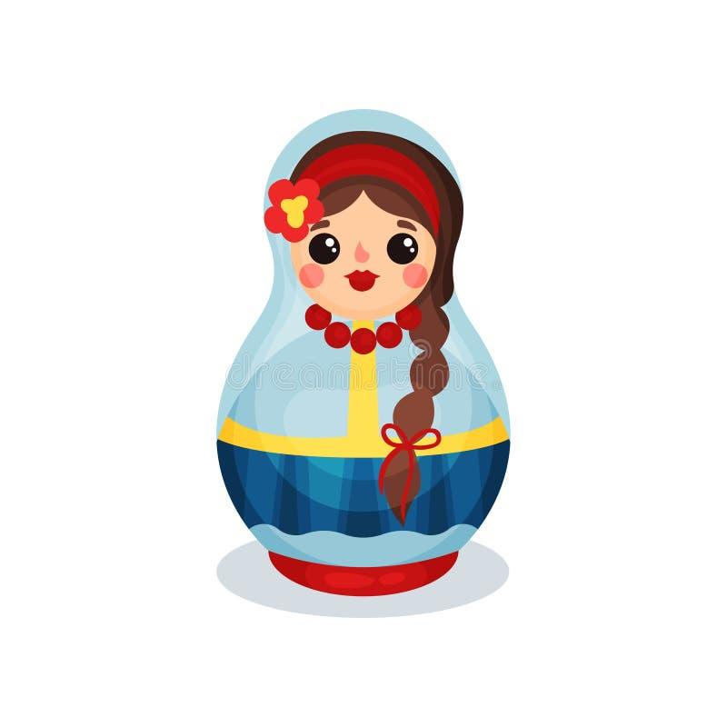 Gniazdować lalę, tradycyjnego Rosyjskiego drewnianego matryoshka wektorowa ilustracja na białym tle ilustracja wektor