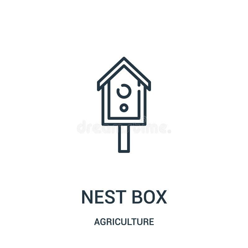 gniazdowy pudełkowaty ikona wektor od rolnictwo kolekcji Cienka linii gniazdeczka pudełka konturu ikony wektoru ilustracja Liniow ilustracja wektor