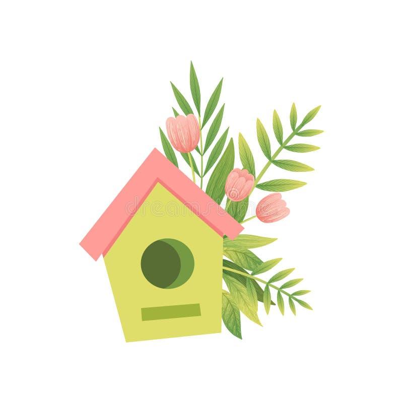 Gniazdujący pudełko i bukiet kwiaty, Cześć wiosna Kwiecistego projekta szablonu wektoru ilustracja ilustracji