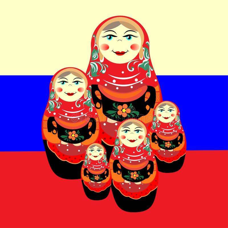 Gniazdująca lala przeciw Rosyjskiej fladze ilustracja wektor