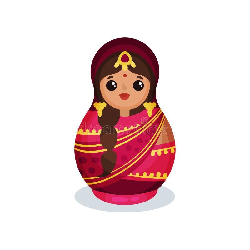 Gniazdujący lalę w tradycyjnym Indiańskim kostiumu, drewnianego matryoshka wektorowa ilustracja odizolowywająca na białym tle ilustracja wektor