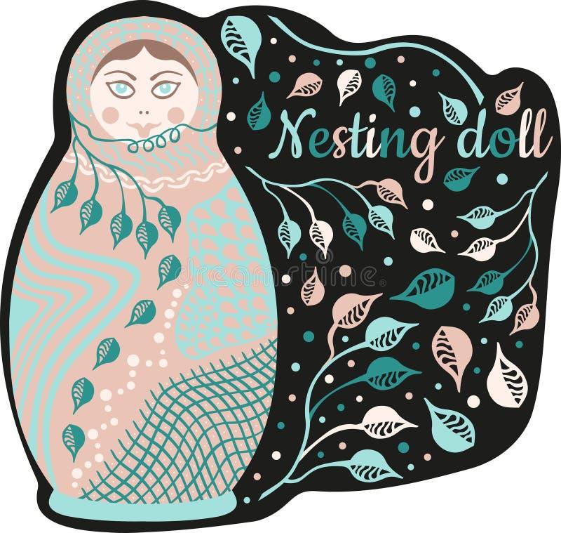 Gniazdujący lalę z wpisowym «Gniazdujący lalę «, abstrakt opuszcza, okrąża i rozgałęzia się, Płaski skład w pastelowych kolorach  ilustracji