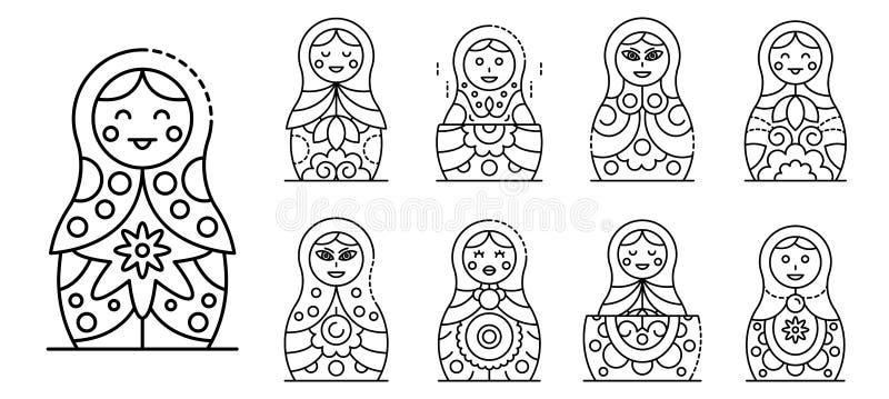 Gniazdujący lal ikony ustawiać, konturu styl royalty ilustracja