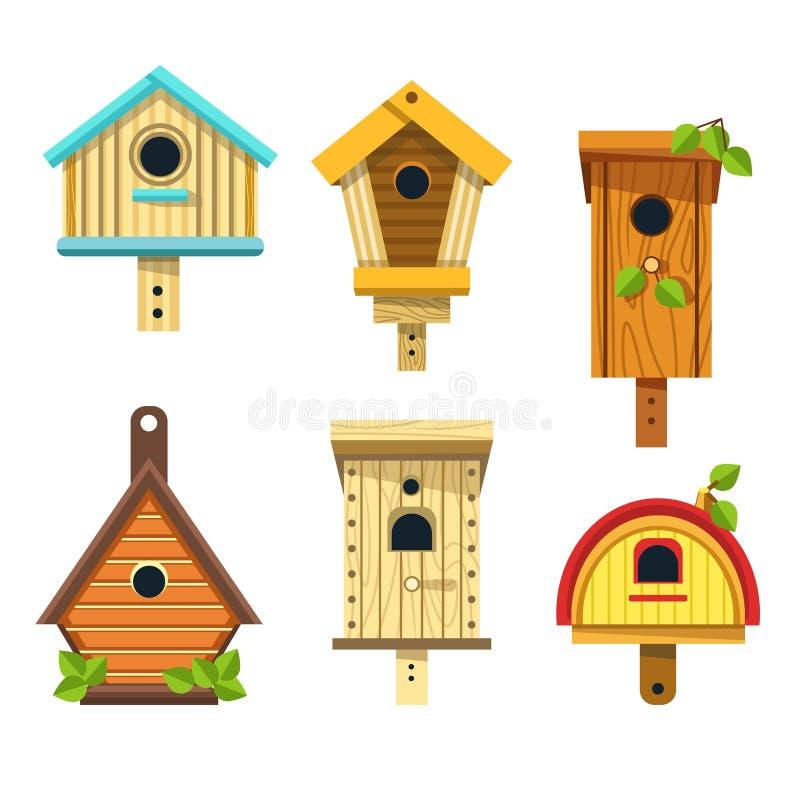 Gniazdujący pudełka lub birdhouses odizolowywał ikon drewnianych rękodzieła ilustracja wektor