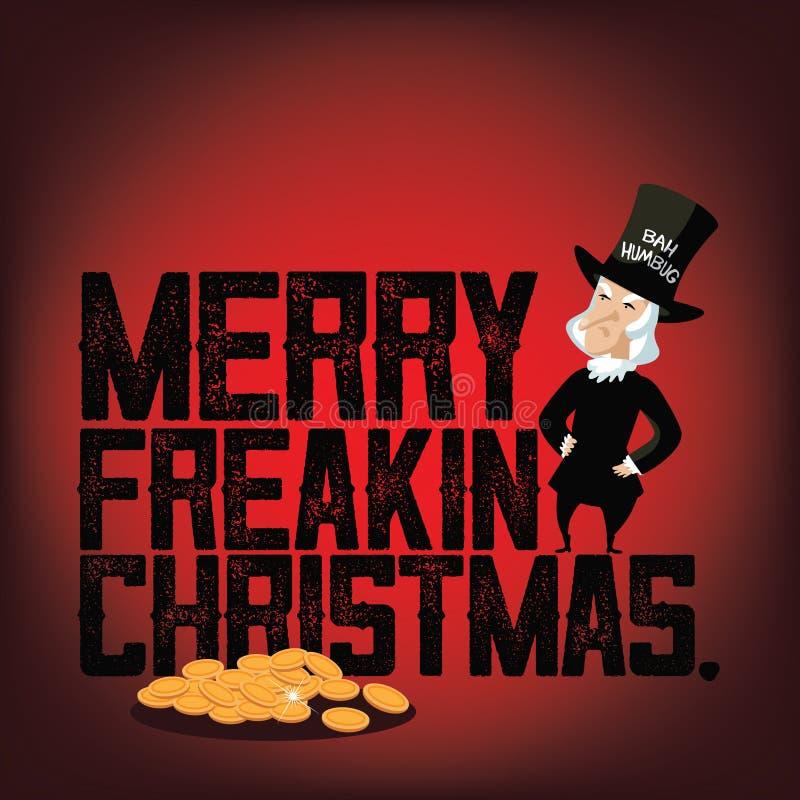 Gnidaren önskar dig glad en Freakin jul vektor illustrationer