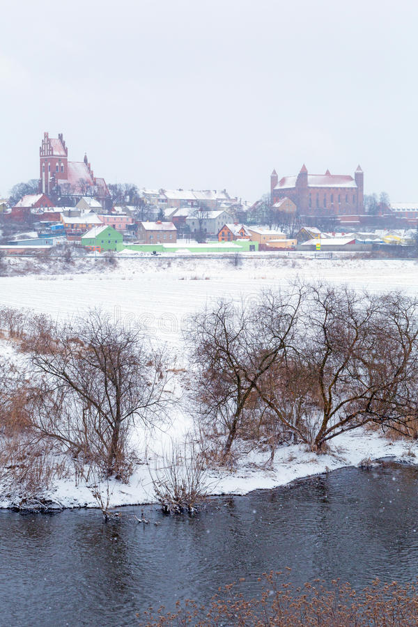Download Gniew Town In Winter Scenery At Wierzyca River Stock Image - Image: 29835067
