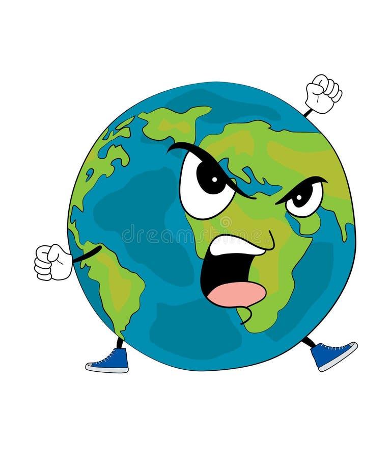 Gniewna Światowa kuli ziemskiej kreskówka royalty ilustracja