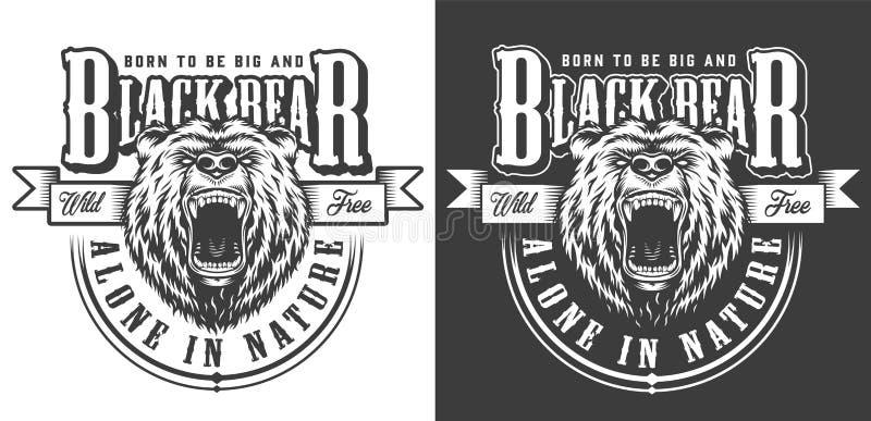 Gniewna agresywna niedźwiedź głowy etykietka ilustracji