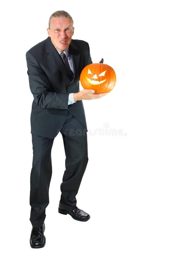 gniewna biznesowa Halloween mężczyzna bania zdjęcie stock