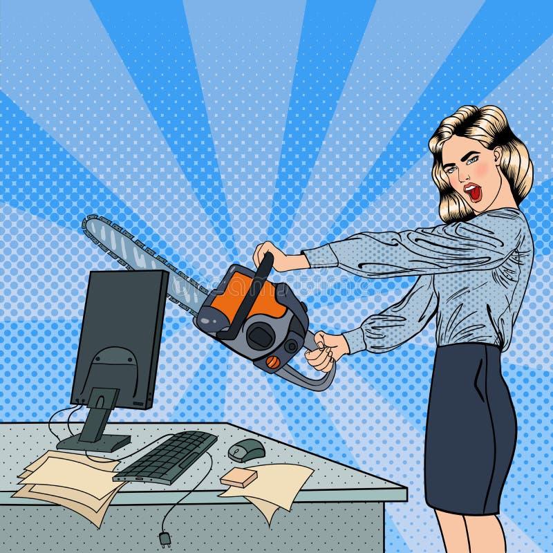 Gniewna Biznesowa kobieta Rozbija jej komputer z piłą łańcuchową Wystrzał sztuka ilustracji