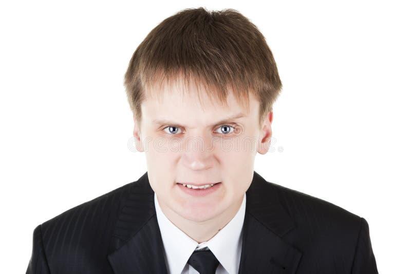 gniewna biznesowa twarz robi mężczyzna straszny obraz stock
