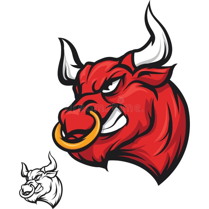 Gniewna byk głowa - czerwień ilustracja wektor