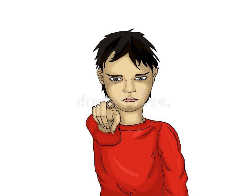 Gniewna chłopiec wskazuje palec przy tobą dziecko palec jego punkty royalty ilustracja