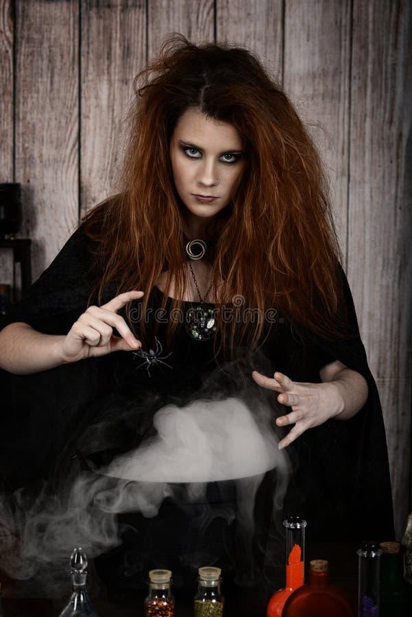 Gniewna czarownica robi magicznemu napojowi miłosnemu dostawianiu pająk zdjęcia stock