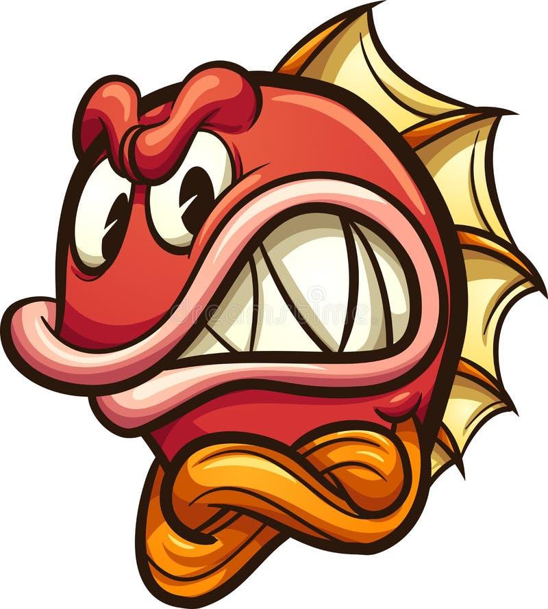 Gniewna czerwieni ryba z krzyżować rękami ilustracji