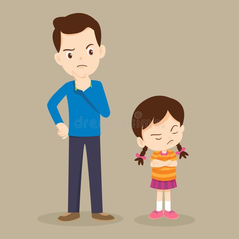 Gniewna dziewczyna i jej tata ilustracja wektor