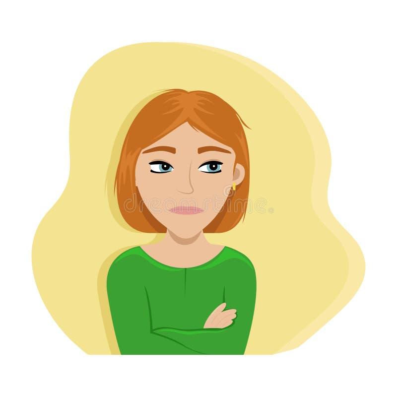 Gniewna dziewczyna krzy?owa? ona r?ki P?aska wektorowa ilustracja emocje ilustracja wektor