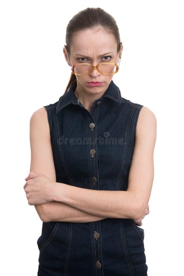 Gniewna dziwaczna głupek dziewczyna zdjęcia royalty free