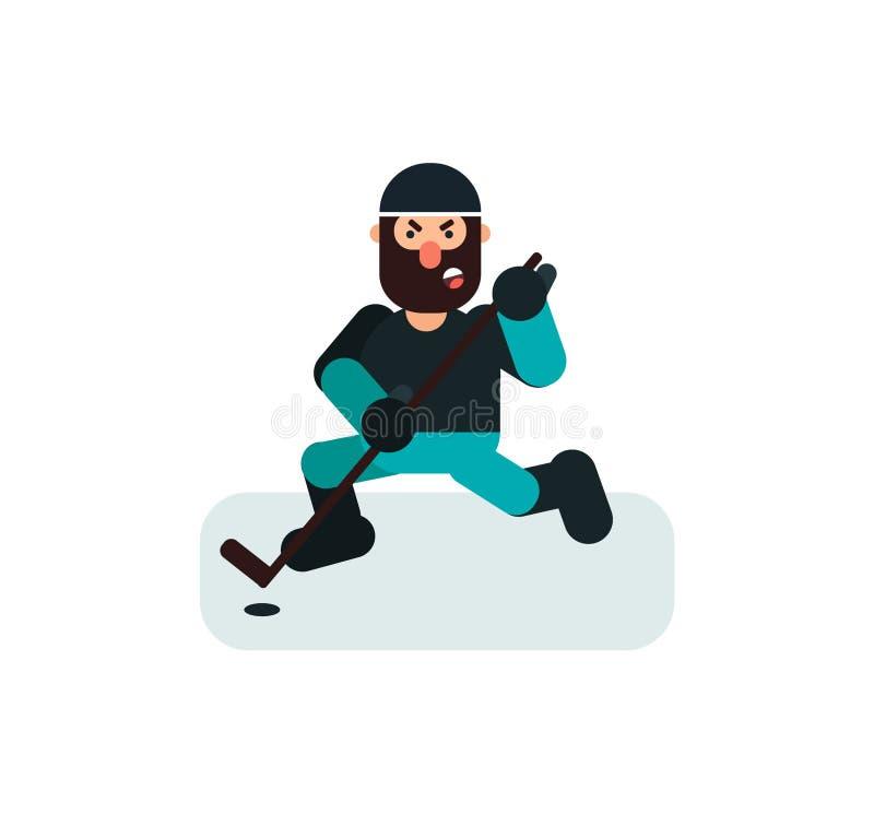 Gniewna hokejowa męska gracz ilustracja ilustracji