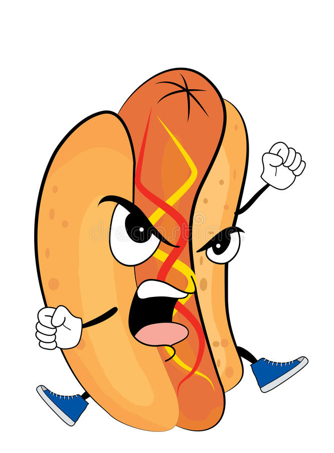Gniewna hotdog kreskówka royalty ilustracja