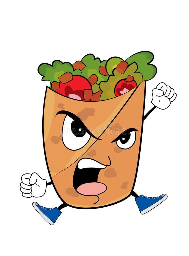 Gniewna Kebab kreskówka royalty ilustracja