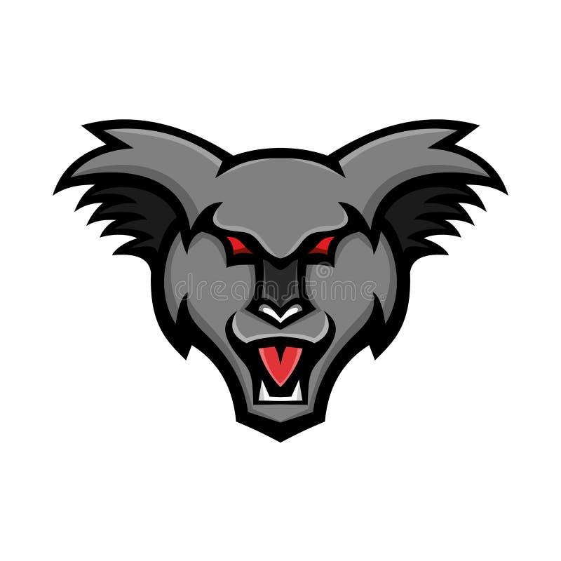 Gniewna koali głowy maskotka royalty ilustracja