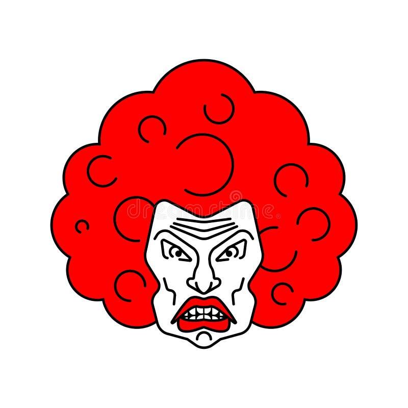 Gniewna kobiety twarzy ikona gderliwy żona portret okropny zagniewany fema royalty ilustracja