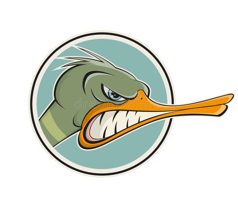 Gniewna kreskówki kaczka ilustracja wektor