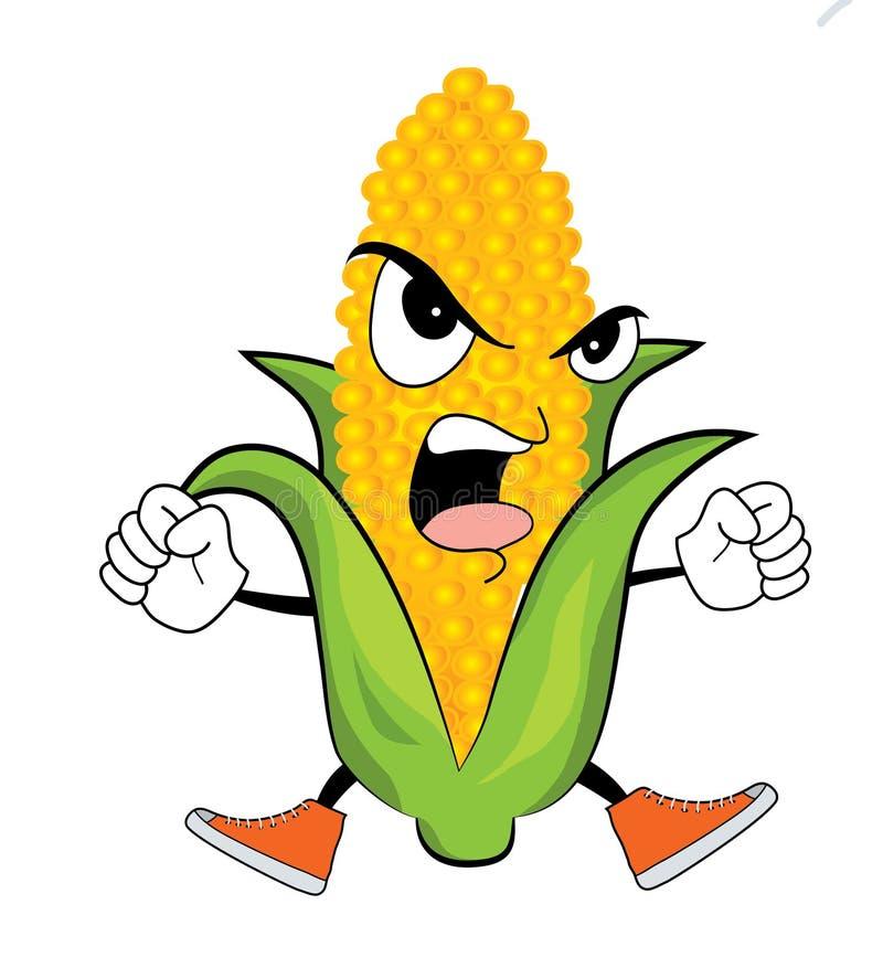 Gniewna kukurydzana kreskówka obraz stock