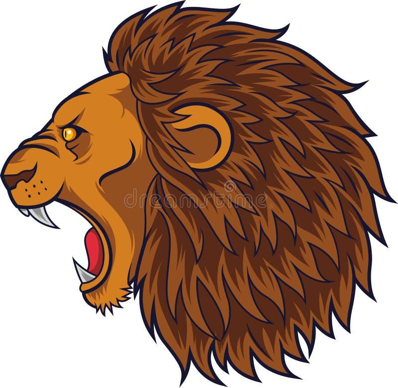 Gniewna lew głowy maskotka ilustracji