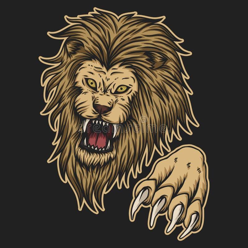 Gniewna lwa ataka wektoru ilustracja ilustracji