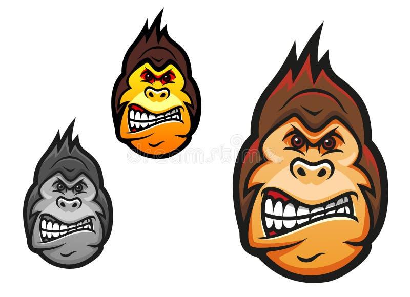 Gniewna małpia maskotka royalty ilustracja