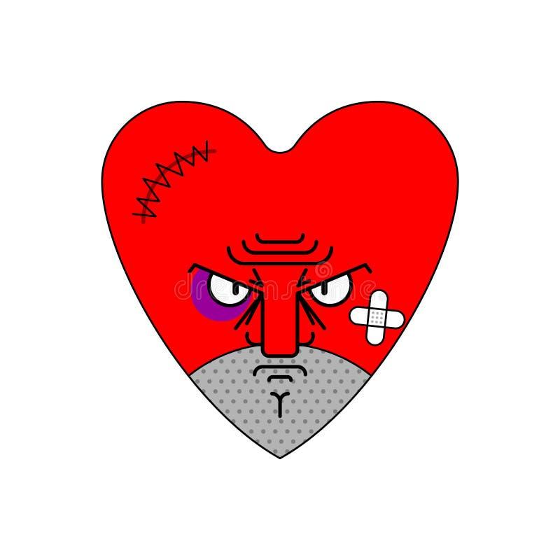 Gniewna miłość z?y serce Zawodzący Amur r?wnie? zwr?ci? corel ilustracji wektora royalty ilustracja