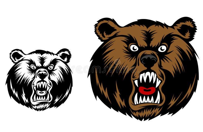 Gniewna niedźwiadkowa maskotka ilustracji