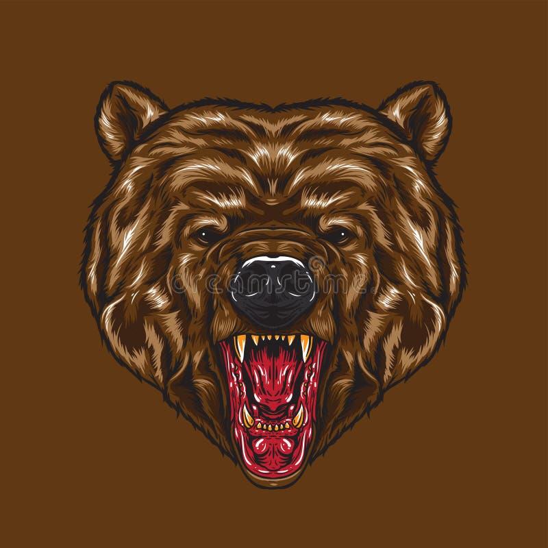 Gniewna Niedźwiadkowa twarz royalty ilustracja