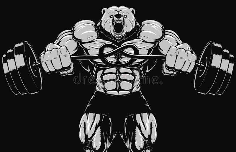 Gniewna niedźwiedź głowy maskotka fotografia stock