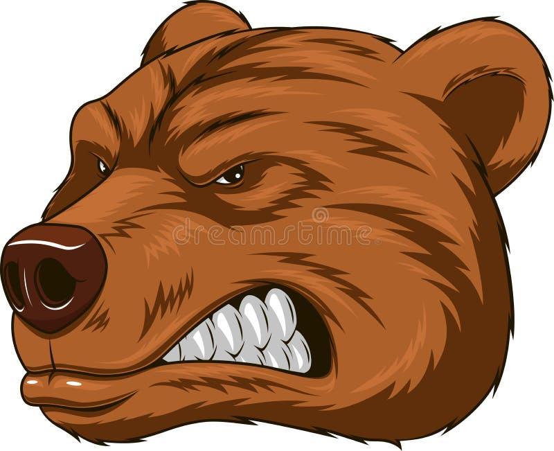 Gniewna niedźwiedź głowy maskotka ilustracja wektor